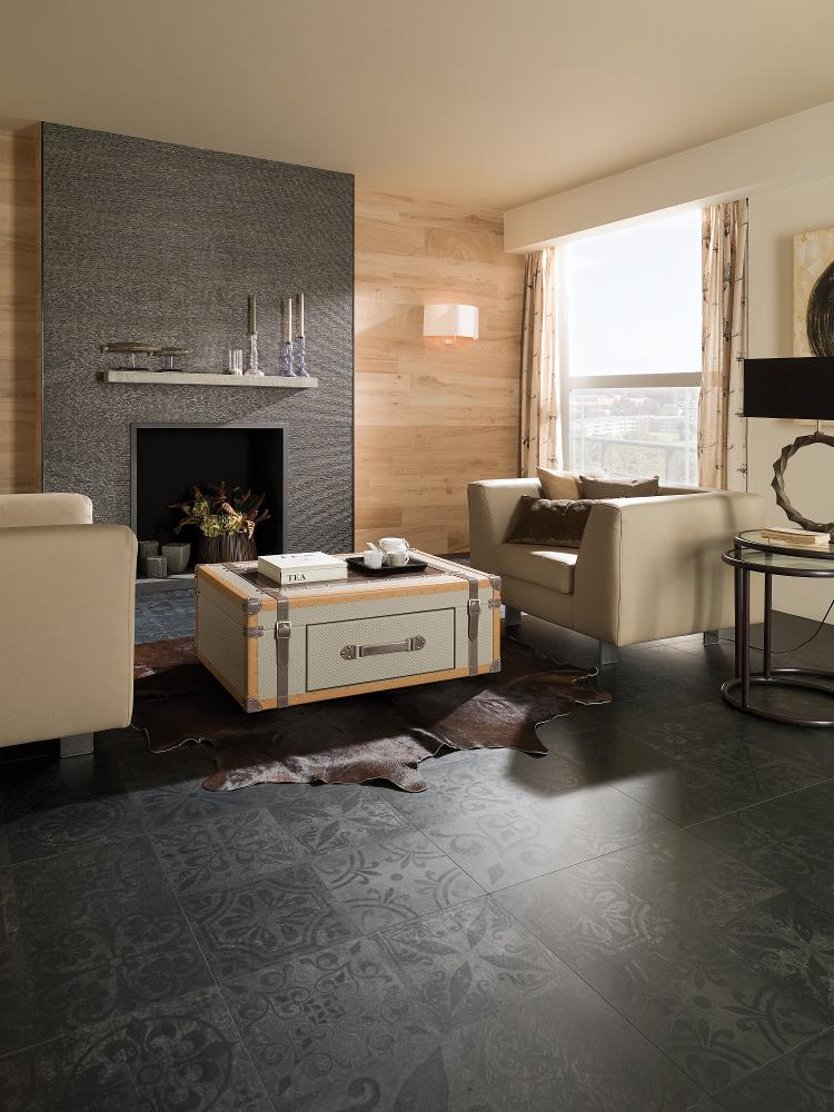 Porcelanosa Antique Black 59.6 x 59.6 cm Installation Image