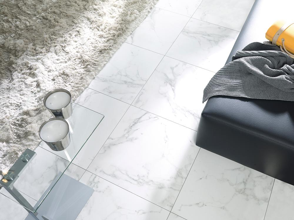 Porcelanosa Carrara Blanco Natural 59.6 x 59.6 Installation Image