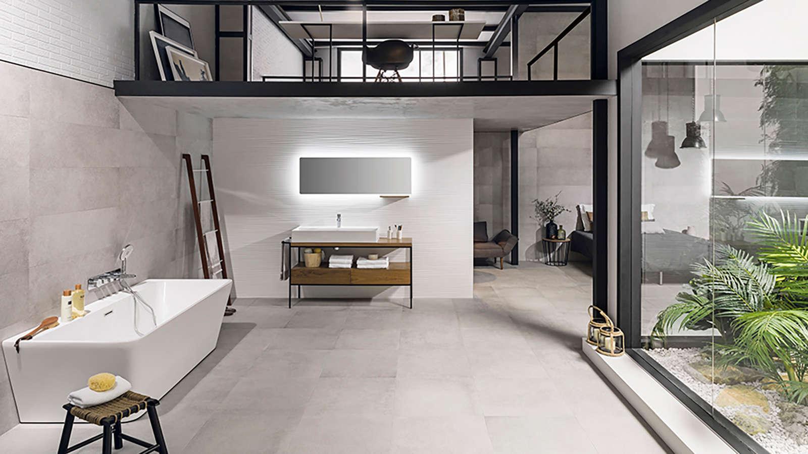 Porcelanosa Frame Clear 59.6x59.6 Frame Clear 33.3x100 Oporto White Matt 45x120