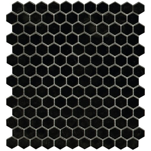 Porcelanosa Air Hexagon Black Mosaic 27.2 x 30.4 cm