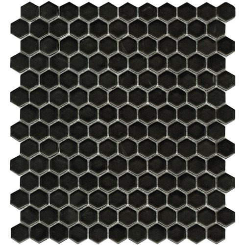 Porcelanosa Air Hexagon Black Matt Mosaic Tile 27.2 x 30.4 cm