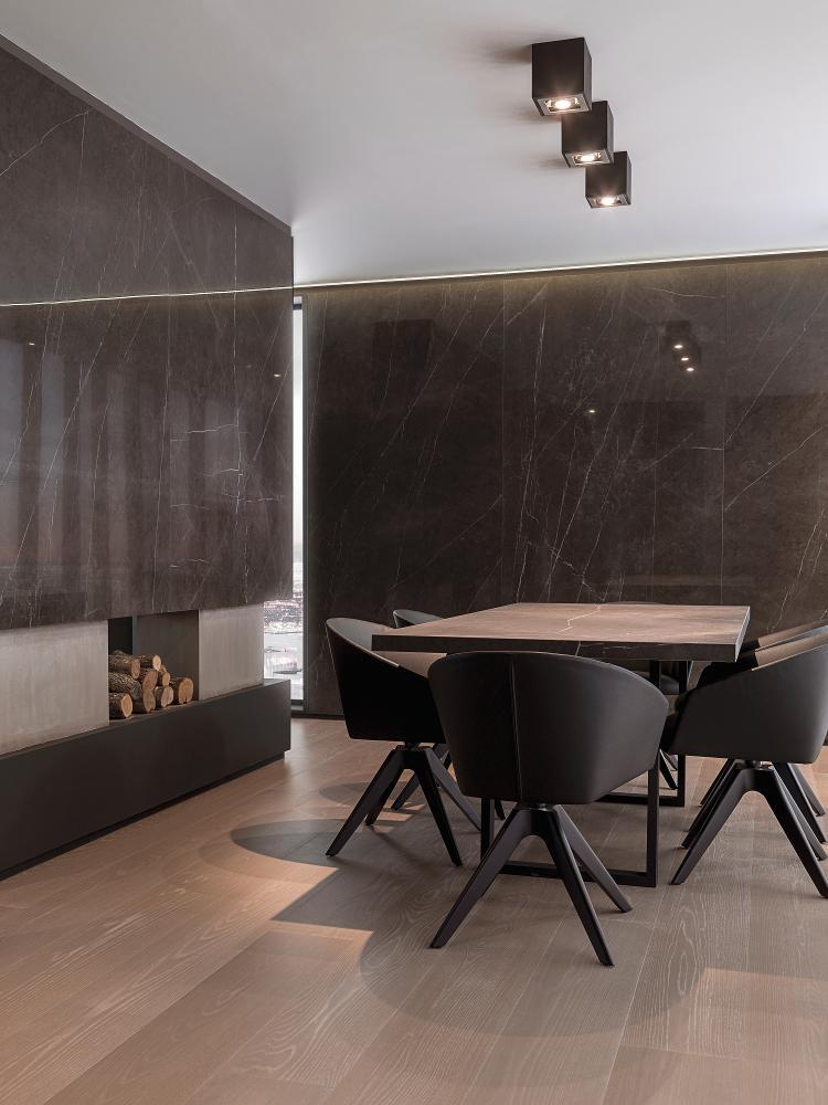 Porcelanosa Savage Dark Polished Dining Room