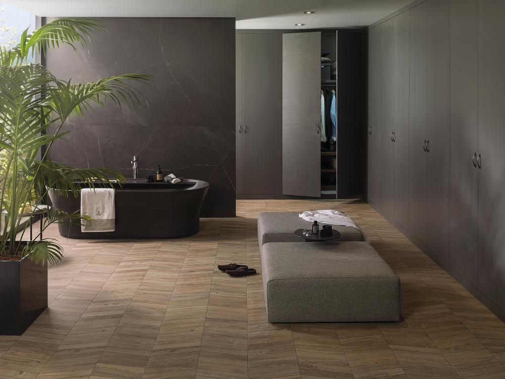 Porcelanosa Viena Colonial 60.2 x 60.2 cm, Savage Dark Nature 120 x 250 cm