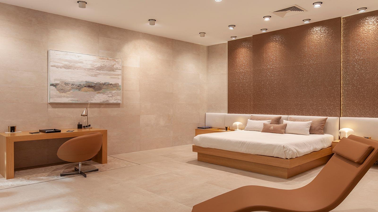 Porcelanosa Dubai Bronze 33.3 x 100 cm, Porcelanosa Mexico Sand 59.6 x 59.6, Porcelanosa Mexico Sand 31.6 x 90 cm
