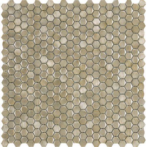 Porcelanosa Gravity Aluminium Hexagon Gold Tile
