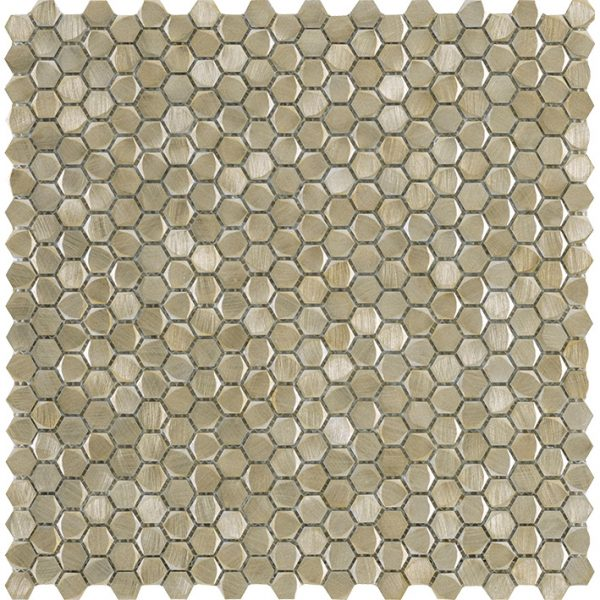 Porcelanosa Gravity Aluminium Hexagon Gold Tile