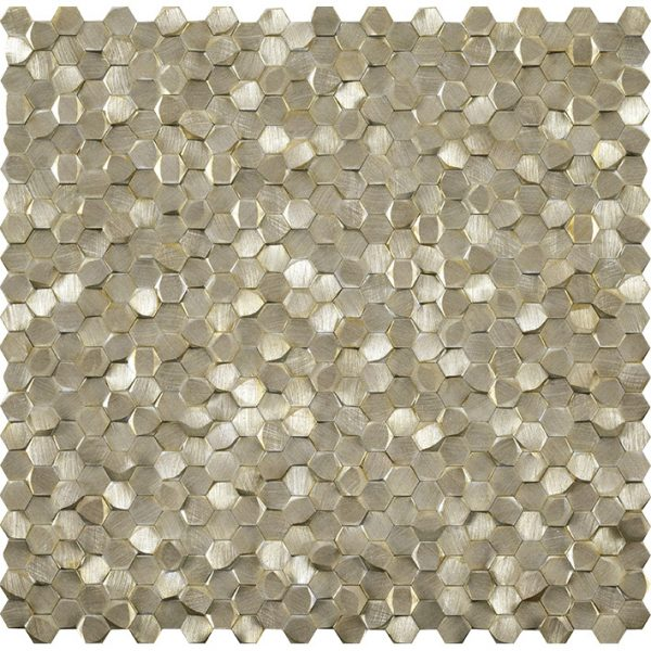 Porcelanosa Gravity Aluminium 3D Hexagon Gold Tile