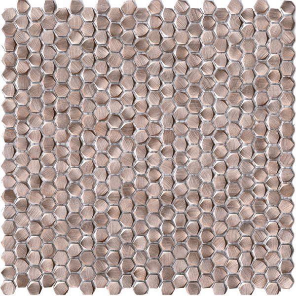 Porcelanosa Gravity Aluminium Hexagon Rose Gold Tile