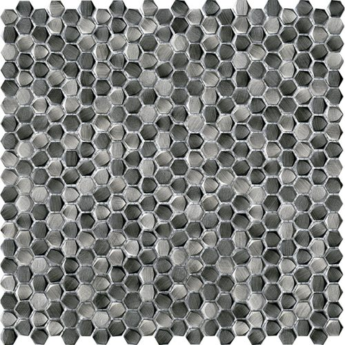 Porcelanosa Gravity Aluminium Hexagon Metal Titanium Tile