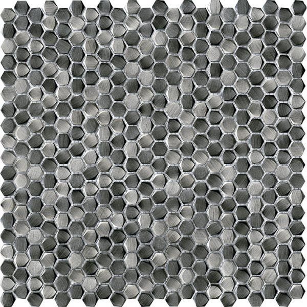 Porcelanosa Gravity Aluminium Hexagon Metal Titanium Tile