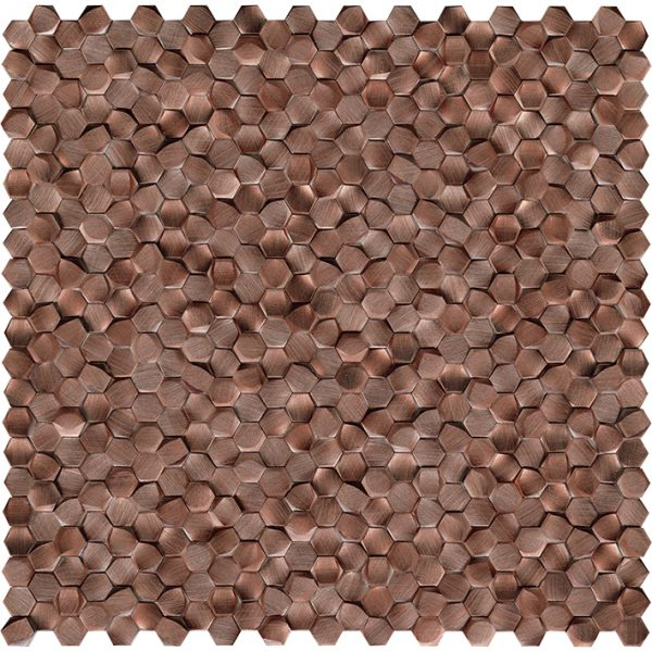 Porcelanosa Gravity Aluminium 3D Hexagon Copper Tile