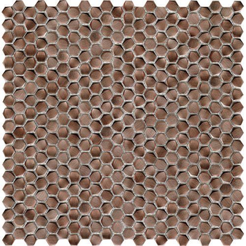 Porcelanosa Gravity Aluminium Hexagon Copper Tile
